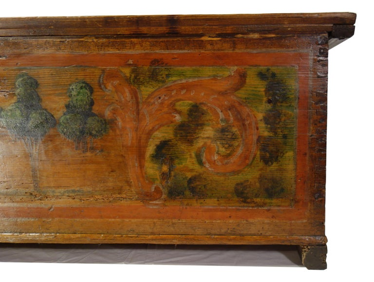 18th Century Antique Italian Cassina Marchigiana Hand Painted Nuptial Chest For Sale 7