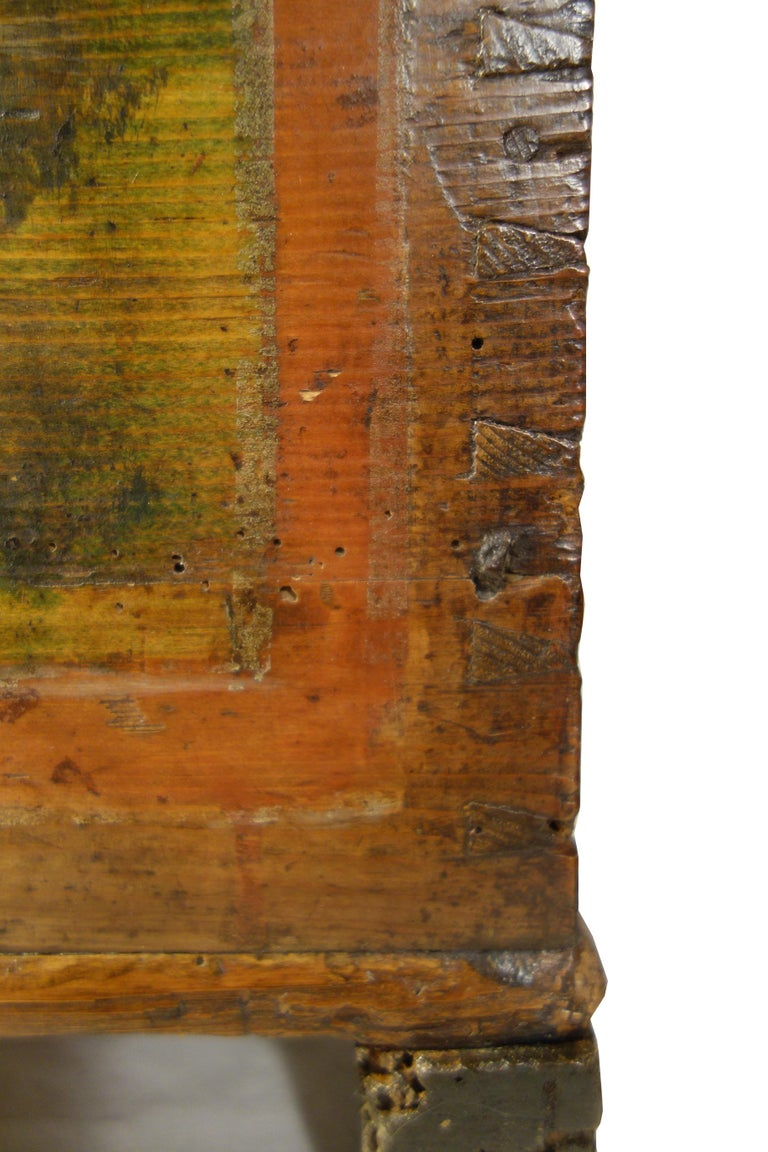 18th Century Antique Italian Cassina Marchigiana Hand Painted Nuptial Chest For Sale 8