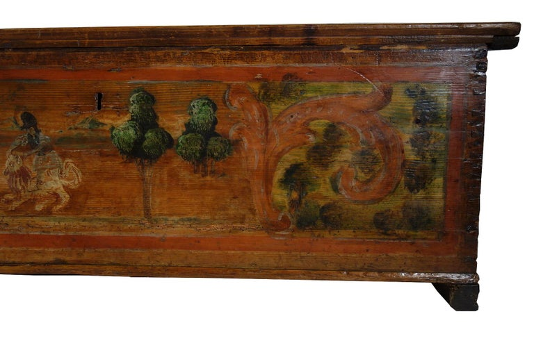 18th Century Antique Italian Cassina Marchigiana Hand Painted Nuptial Chest In Good Condition For Sale In Encinitas, CA
