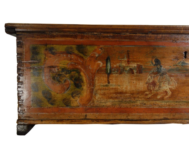 Mid-18th Century 18th Century Antique Italian Cassina Marchigiana Hand Painted Nuptial Chest For Sale
