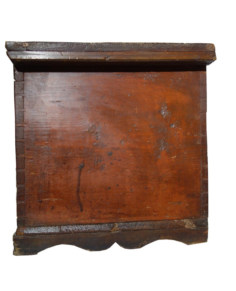 18th Century Antique Italian Cassina Marchigiana Hand Painted Nuptial Chest For Sale 2