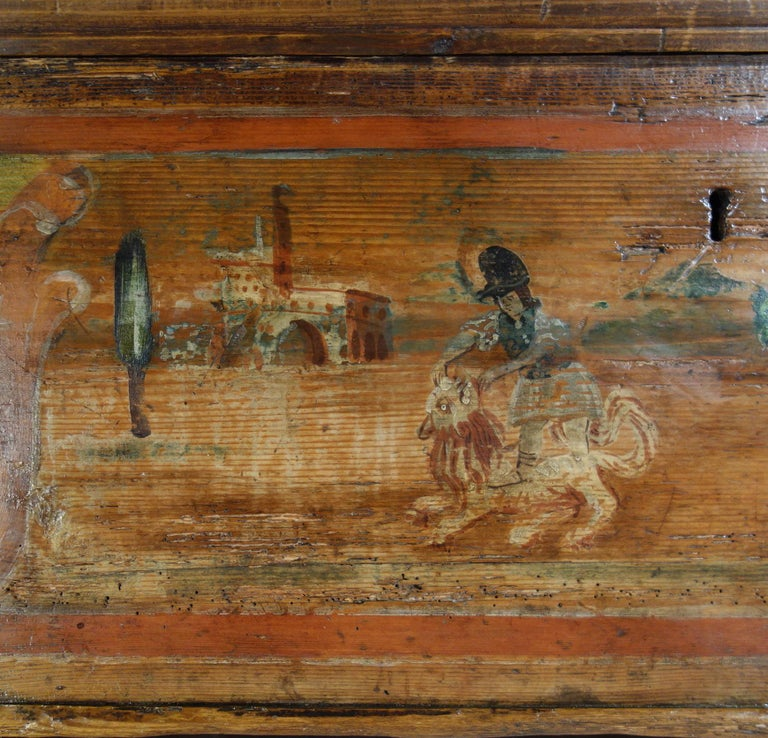 18th Century Antique Italian Cassina Marchigiana Hand Painted Nuptial Chest For Sale 3