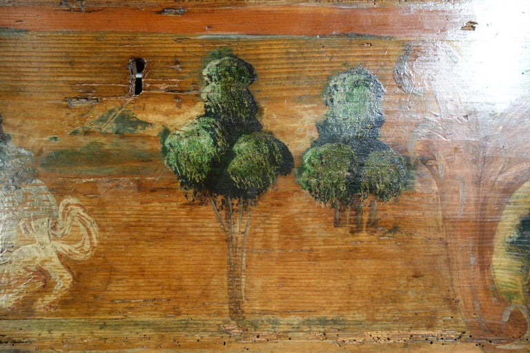 18th Century Antique Italian Cassina Marchigiana Hand Painted Nuptial Chest For Sale 6