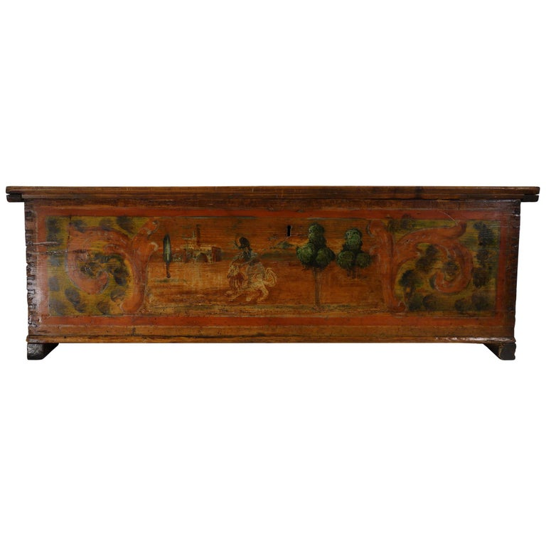 Lovely nuptial trunk, with primitive painting on the front depicting in detail Hercules fighting with the Lion in the Labours of Heracles. King Eurystheus decided Hercules' first task was to bring him the skin of the vicious Lion which had been