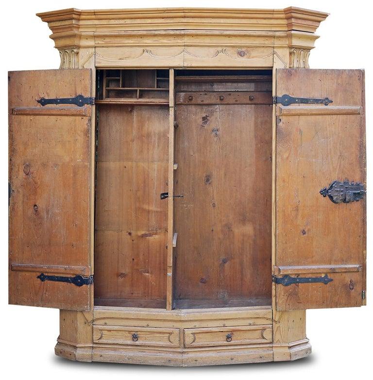 Folk Art Mid-18th Century Carved Wardrobe For Sale