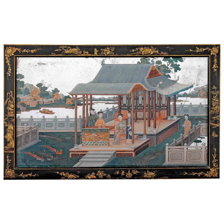 Mid-18th Century Chinese Export Mirror Painting For Sale