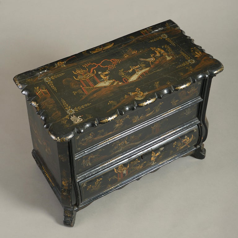 Dutch Mid-18th Century Chinoiserie Black Japanned Work Box For Sale
