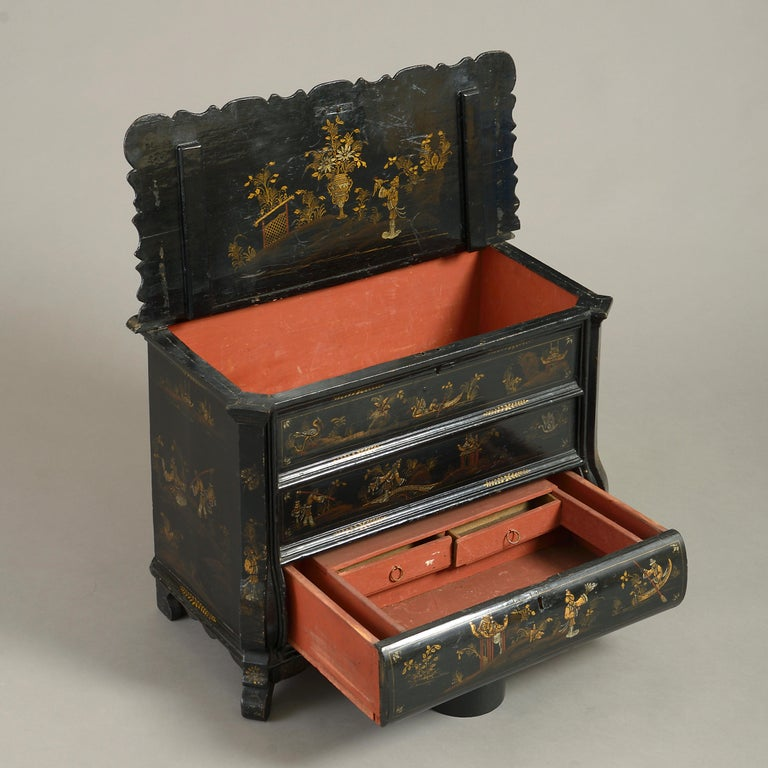 Gilt Mid-18th Century Chinoiserie Black Japanned Work Box For Sale