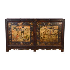 Mid-18th Century Elm Chinese Buffet Hand-Painted