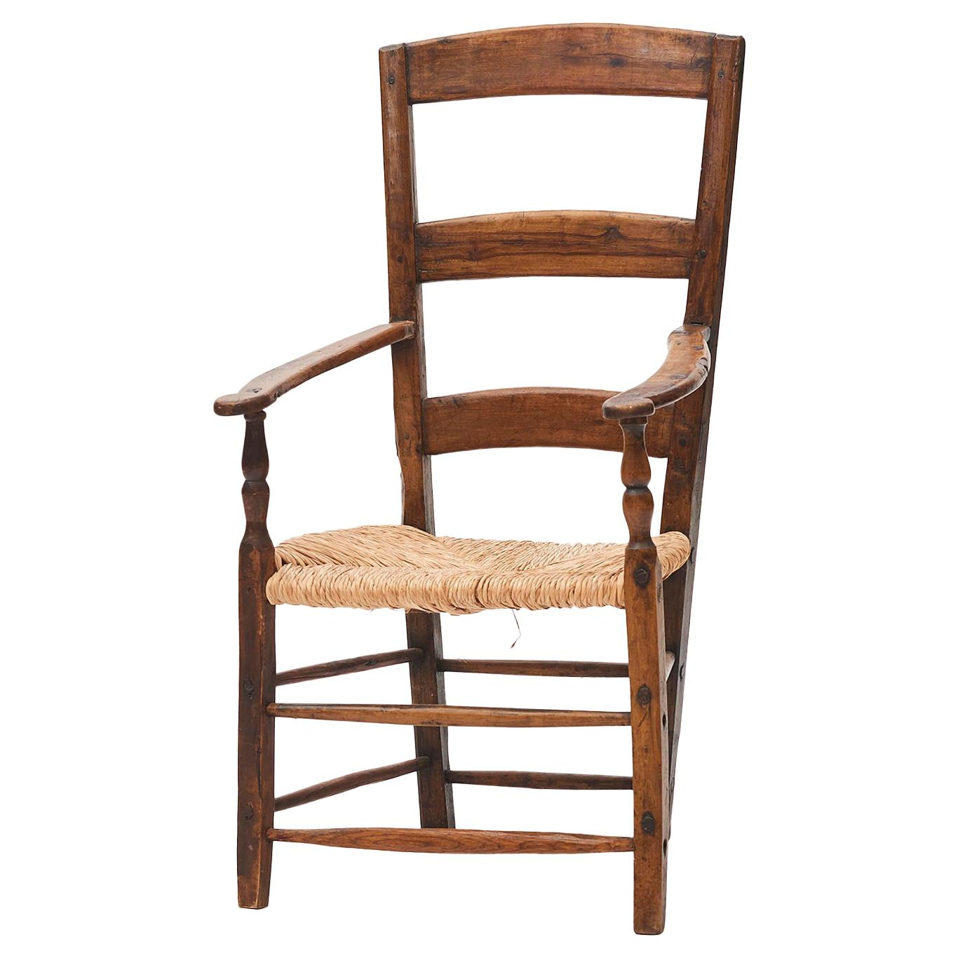 Mid-18th Century English Teak Ladder Back Armchair with Rush Seat