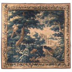 Mid-18th Century French Aubusson Verdure Tapestry with Trees, Birds and Castle
