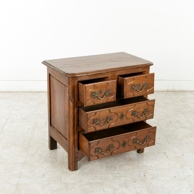 Mid-18th Century French Louis XIV Period Hand Carved Chestnut Commode or Chest For Sale 6