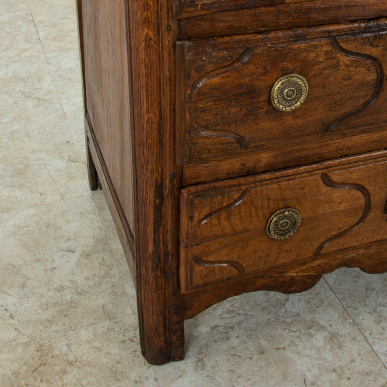 Mid-18th Century French Louis XIV Period Walnut Commode, Chest, Nightstand For Sale 5