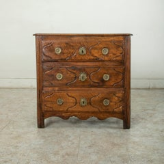 Mid-18th Century French Louis XIV Period Walnut Commode, Chest, Nightstand