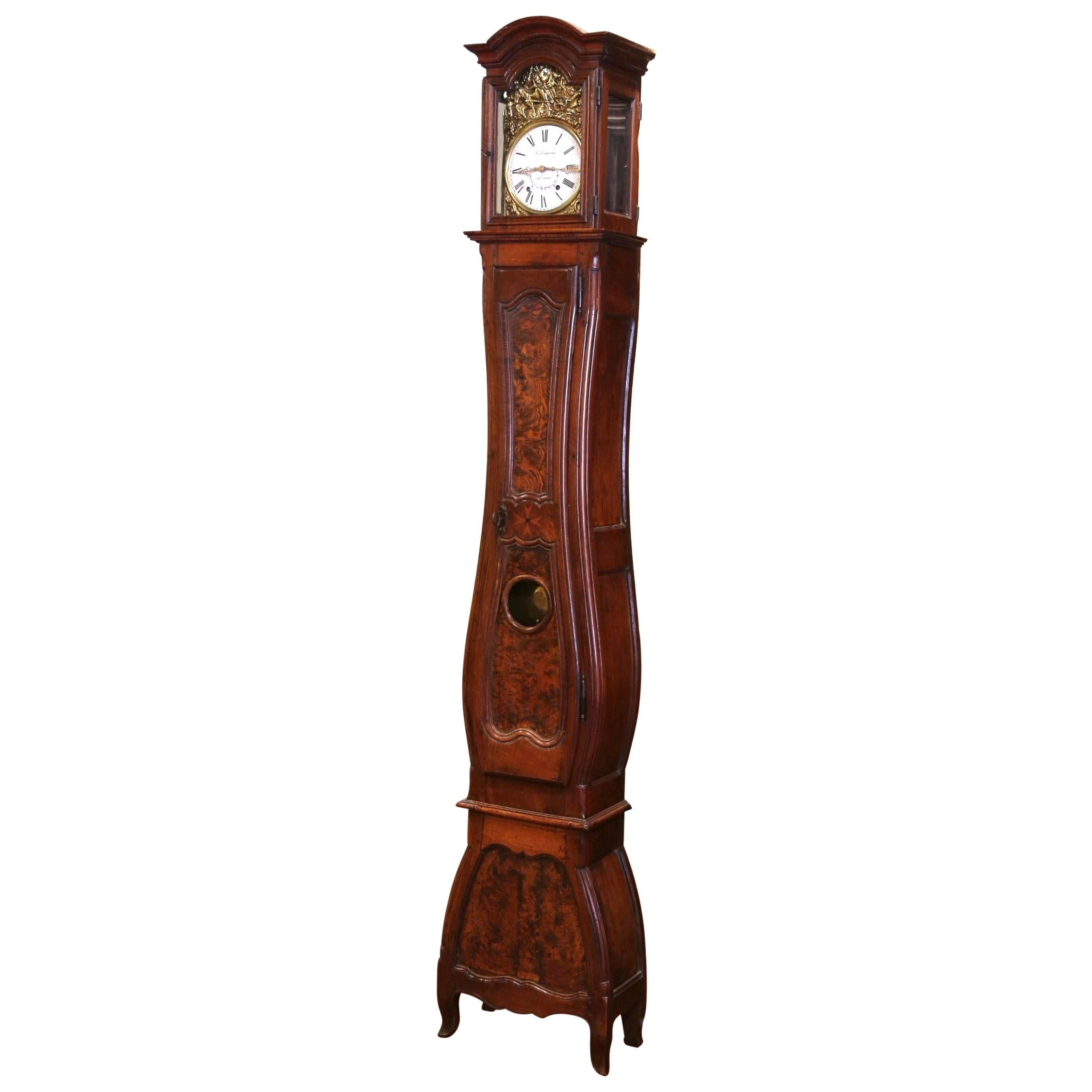 Mid-18th Century French Louis XV Carved Burl Walnut Tall Case Clock from Lyon