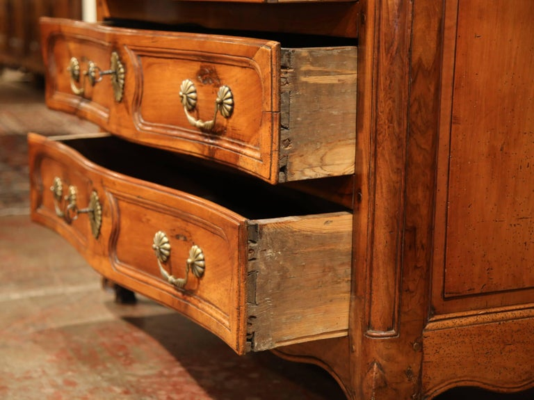 Bronze Mid-18th Century French Louis XV Carved Walnut Chest of Drawers from Burgundy For Sale