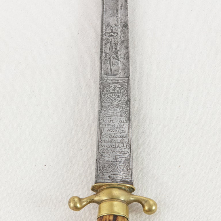 Mid-18th Century French Louis XV Period Engraved Hunting Short Sword with Horn For Sale 3