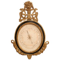 Mid-18th Century French Louis XVI Carved Giltwood Wall Barometer Selon Toricelli