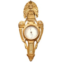 Mid-18th Century French Louis XVI Carved Giltwood Wall Barometer with Sun Decor