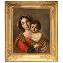 """Mid-18th Century French """"Mother and Child"""" Oil on Canvas Painting in Gilt Frame"""