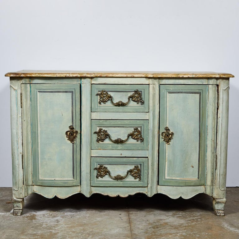Mid-18th century French Normandy painted buffet or sideboard cabinet with faux marble top, carved apron and legs.