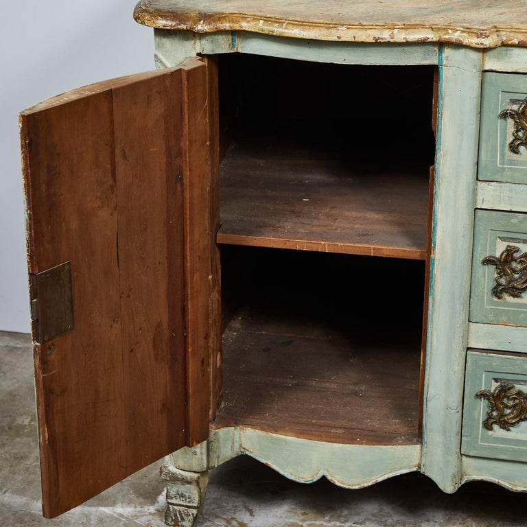 Louis XV Mid-18th Century French Normandy Painted Buffet with Faux Marble Top For Sale