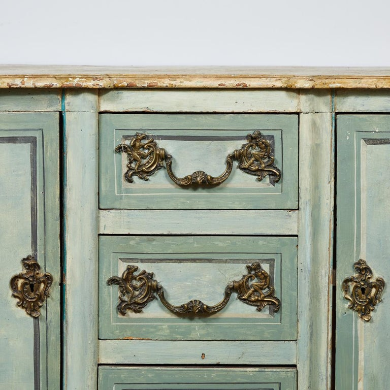 Mid-18th Century French Normandy Painted Buffet with Faux Marble Top In Good Condition For Sale In Los Angeles, CA