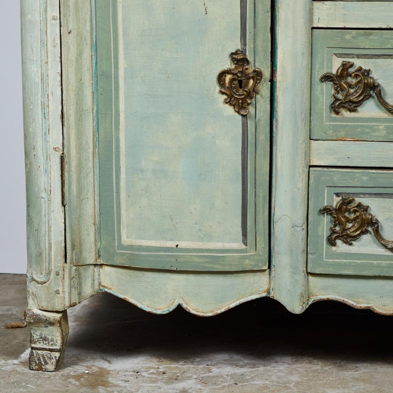Wood Mid-18th Century French Normandy Painted Buffet with Faux Marble Top For Sale