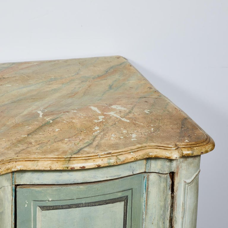 Mid-18th Century French Normandy Painted Buffet with Faux Marble Top For Sale 1
