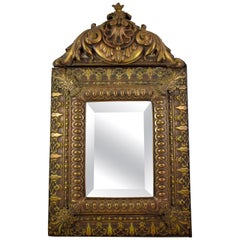 Mid-18th Century French Rocaille Patinated Metal on Wood Beveled Wall Mirror