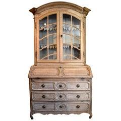 Mid-18th Century, French Stripped Oak Bureau Bookcase