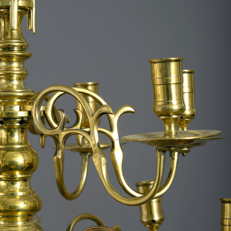 Cast Mid 18th Century George II Brass Chandelier For Sale