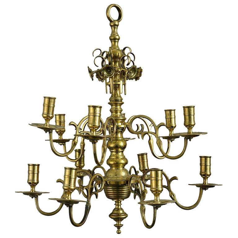 Mid 18th Century George II Brass Chandelier For Sale