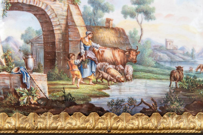 Mid-18th Century Hand Painted Porcelain Plaque Sèvres In Good Condition For Sale In Paris, FR