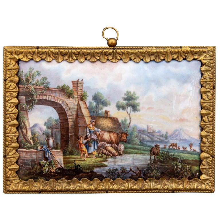 Mid-18th Century Hand Painted Porcelain Plaque Sèvres For Sale