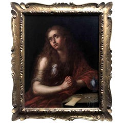 Mid-18th Century Italian Mary Magdalene Lombard School Oil on Canvas Painting