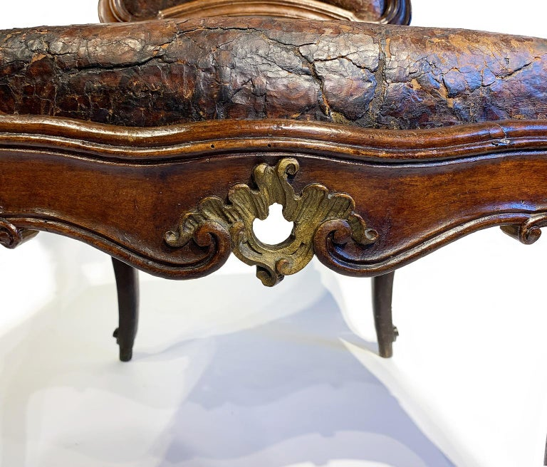 Mid-18th Century Italian Pair of Armchairs with Leather Covers, Milan circa 1750 For Sale 8
