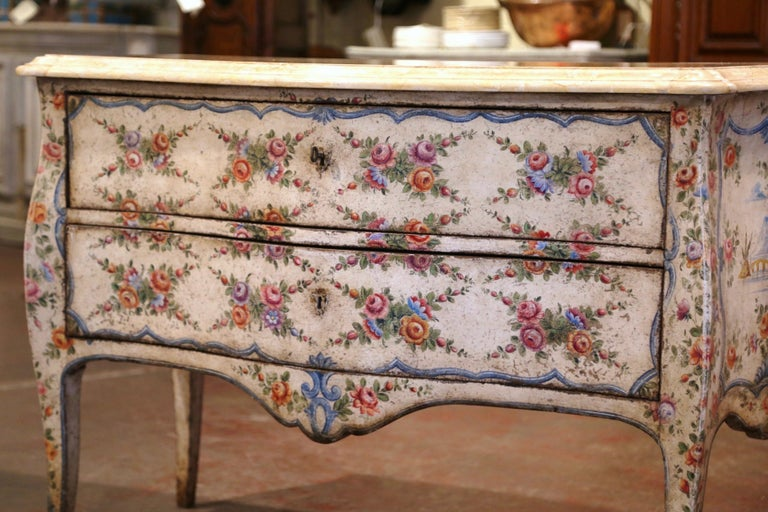 Louis XV Mid-18th Century Italian Venetian Painted Bombe Chest of Drawers with Marble Top For Sale