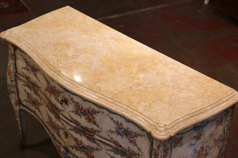 Hand-Carved Mid-18th Century Italian Venetian Painted Bombe Chest of Drawers with Marble Top For Sale