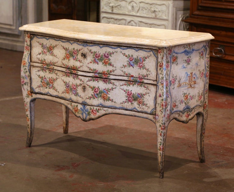 Mid-18th Century Italian Venetian Painted Bombe Chest of Drawers with Marble Top In Excellent Condition For Sale In Dallas, TX