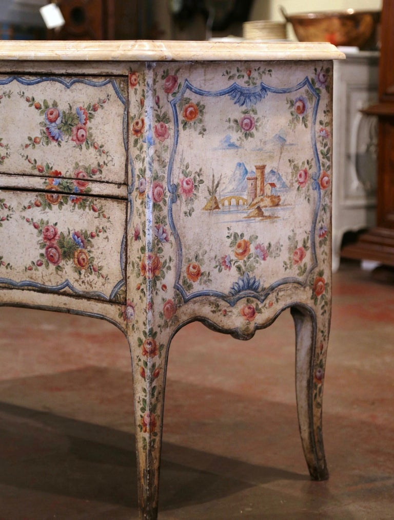 Silk Mid-18th Century Italian Venetian Painted Bombe Chest of Drawers with Marble Top For Sale