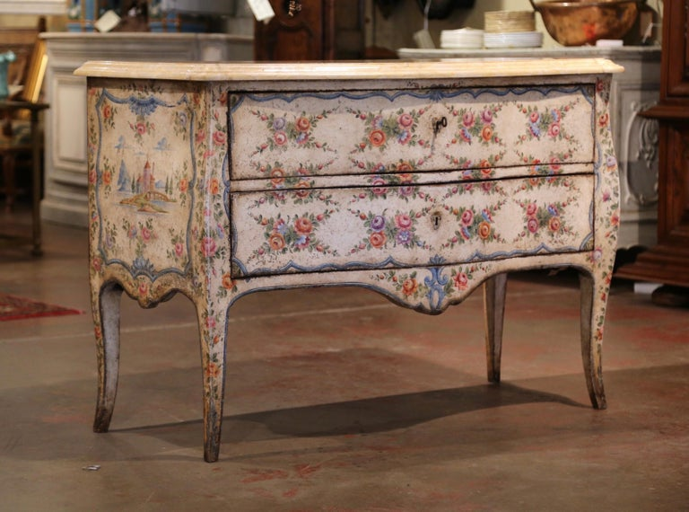 Mid-18th Century Italian Venetian Painted Bombe Chest of Drawers with Marble Top For Sale 1