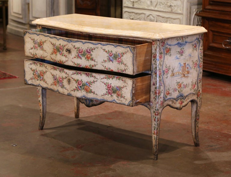 Mid-18th Century Italian Venetian Painted Bombe Chest of Drawers with Marble Top For Sale 2