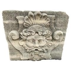 Mid-18th Century Limestone Fountain Head from France