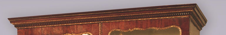 George II Mid 18th Century Mahogany and Gilt Display Bookcase For Sale