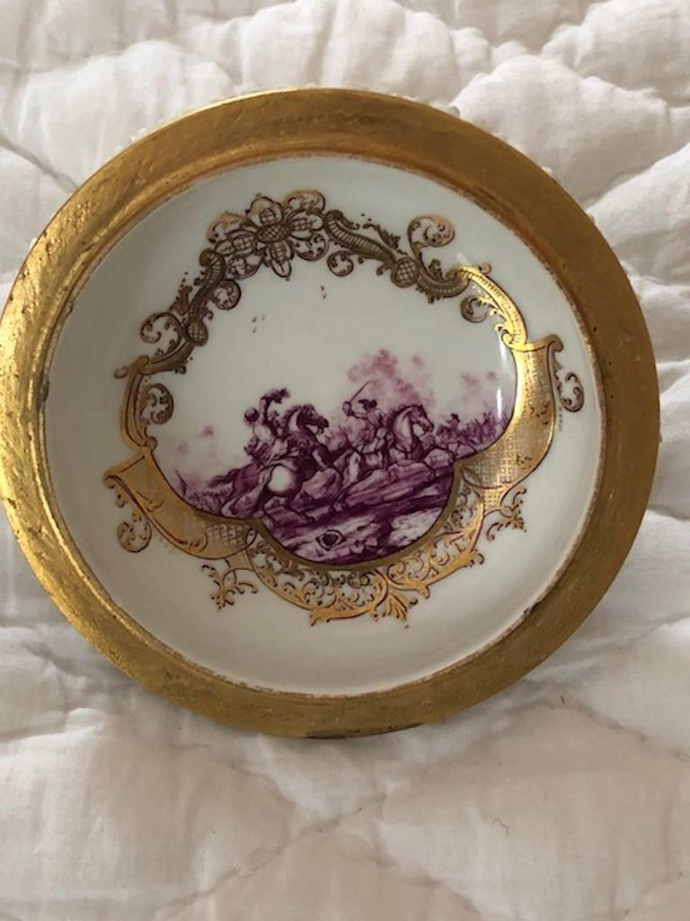 Mid-18th Century Meissen Two-Handled Cup with Cover and Saucer In Excellent Condition For Sale In Washington Crossing, PA