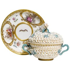 Mid-18th Century Meissen Two-Handled Cup with Cover and Saucer