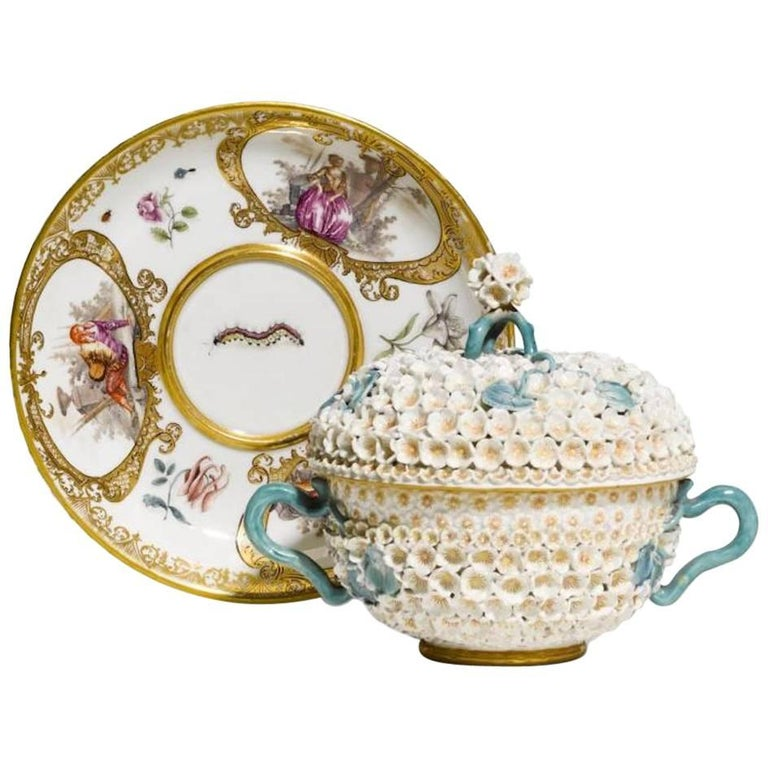 Mid-18th Century Meissen Two-Handled Cup with Cover and Saucer For Sale