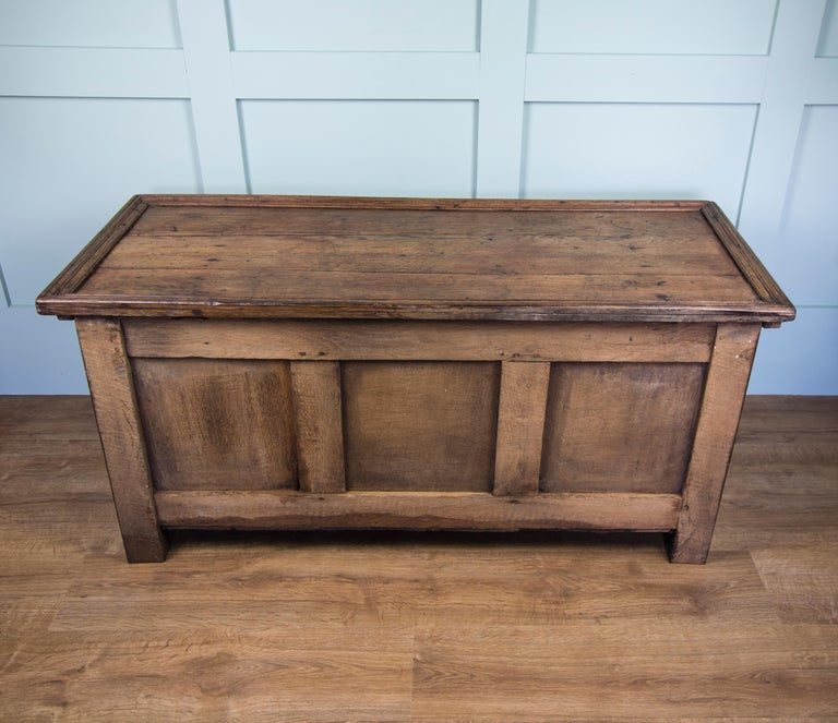 Georgian Mid-18th Century Oak Coffer Chest with Three-Panel Decorative Front For Sale