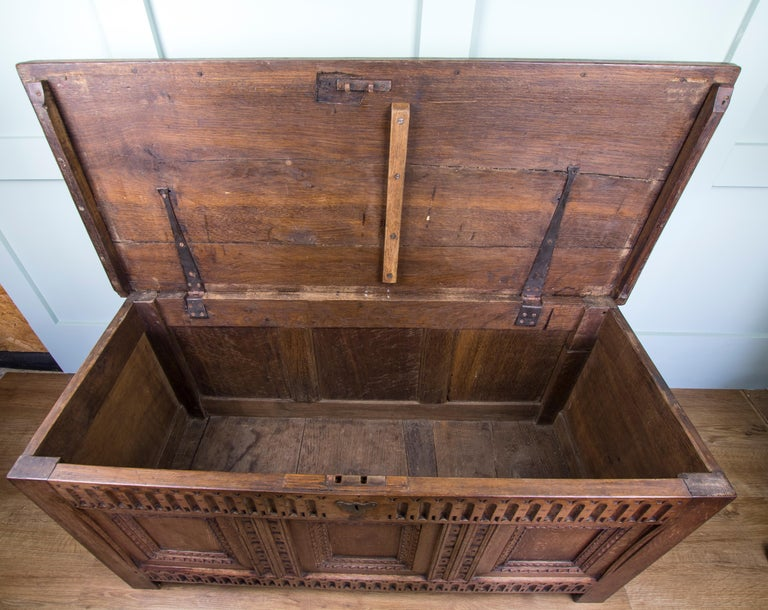 Mid-18th Century Oak Coffer Chest with Three-Panel Decorative Front For Sale 1